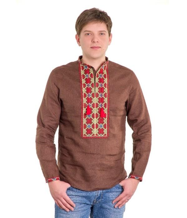Рубашка вышитая крестиком «Пасхальная» М-404 , Рубашка вышитая крестиком «Пасхальная» М-404  купити