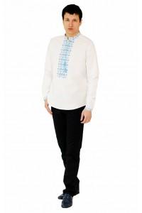 Рубашка вышитая крестиком «Жучки» 100 % Лен  М-410-6