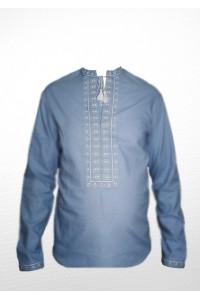 Рубашка вышитая крестиком «Жучки» 100 % Лен  М-410-7