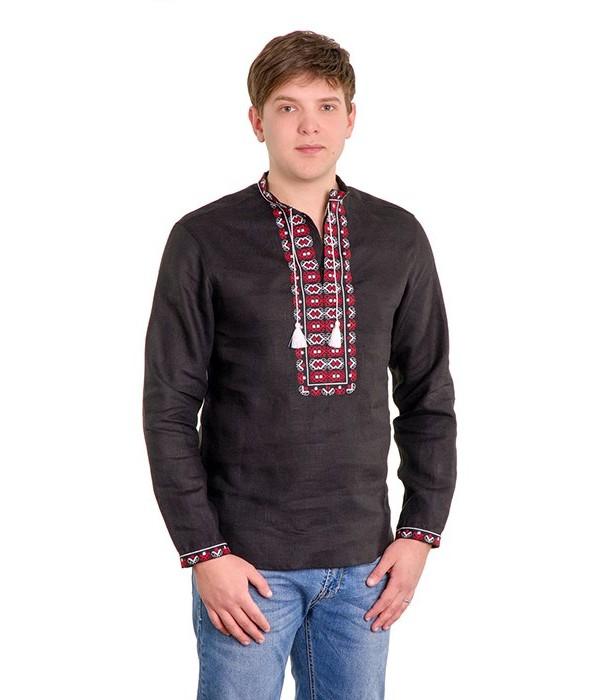 Рубашка вышитая крестиком «Жучки» 100 % Лен  М-410, Рубашка вышитая крестиком «Жучки» 100 % Лен  М-410 купити