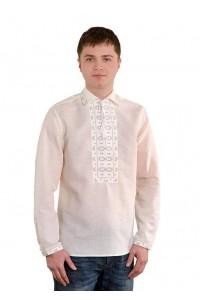 Рубашка вышитая крестиком «Жучки» 100 % Лен  М-410-2