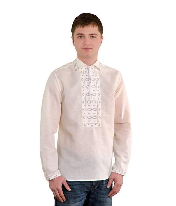 Рубашка вышитая крестиком «Жучки» 100 % Лен  М-410-2, Рубашка вышитая крестиком «Жучки» 100 % Лен  М-410-2 купити