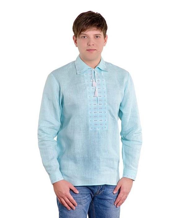 Рубашка вышитая крестиком «Жучки» 100 % Лен  М-410-5, Рубашка вышитая крестиком «Жучки» 100 % Лен  М-410-5 купити