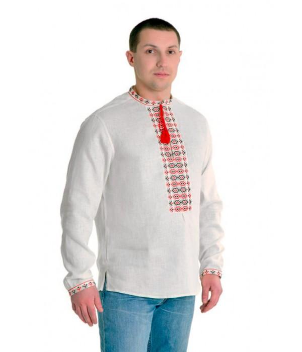 Рубашка вышитая крестиком «Жучки» 100 % Лен  М-410-1, Рубашка вышитая крестиком «Жучки» 100 % Лен  М-410-1 купити