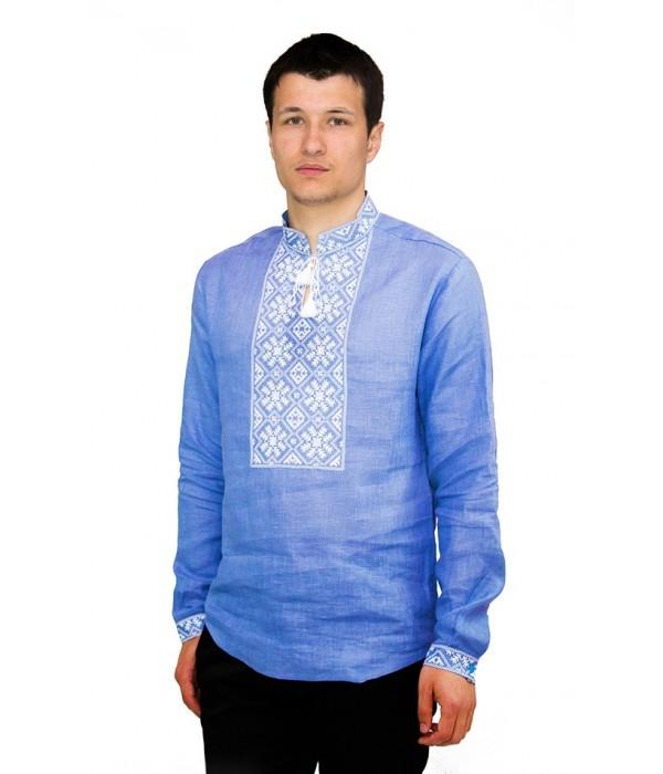 Рубашка вышитая гладью «Снежинка»  М-412-7, Рубашка вышитая гладью «Снежинка»  М-412-7 купити