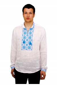 Рубашка вышитая гладью «Снежинка» М-412-5
