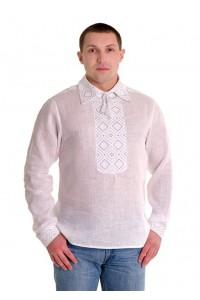 Рубашка вышитая гладью «Ромбы» 100% Лен М-415-1