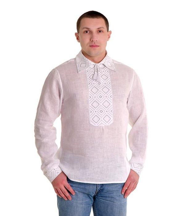 Рубашка вышитая гладью «Ромбы» 100% Лен М-415-1, Рубашка вышитая гладью «Ромбы» 100% Лен М-415-1 купити