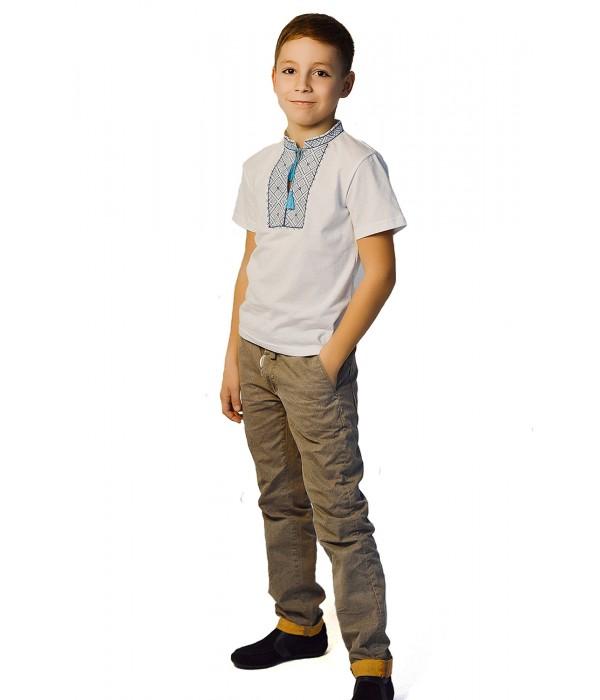 Футболка вишита хрестиком на хлопчика М-108, Футболка вишита хрестиком на хлопчика М-108 купити