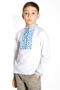Сорочка білого кольору з синьою-голубою вишивкою М-1001-1