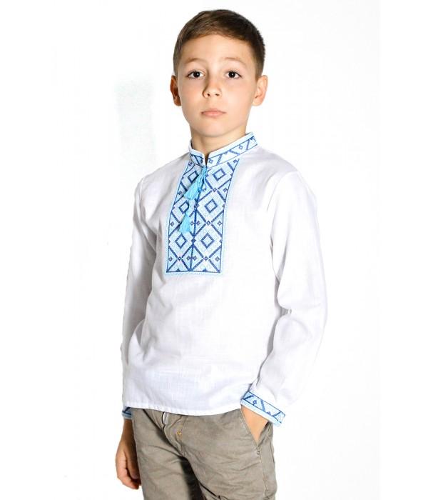 Рубашка белого цвета с синей-голубой вышивкой М-1001-1, Рубашка белого цвета с синей-голубой вышивкой М-1001-1 купити
