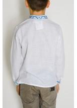 Рубашка белого цвета с синей-голубой вышивкой М-1001-1
