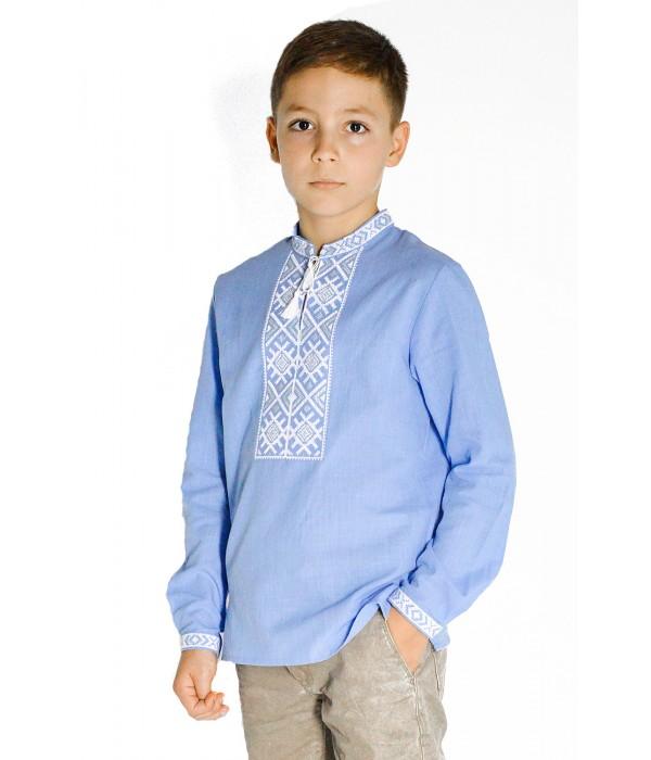 Детская рубашка голубого цвета М-1002-2, Детская рубашка голубого цвета М-1002-2 купити