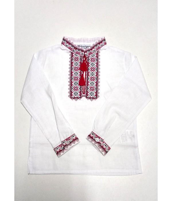 Детская рубашка белого цвета М-1009-1, Детская рубашка белого цвета М-1009-1 купити