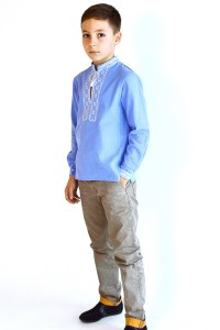 Дитяча сорочка голубого кольору М-1009-2