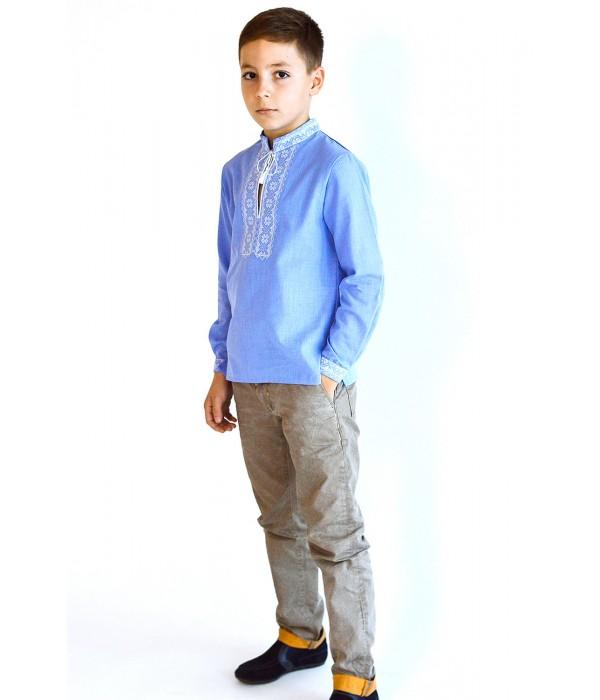 Детская рубашка голубого цвета М-1009-2, Детская рубашка голубого цвета М-1009-2 купити