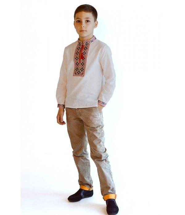 Детская рубашка из натуральной ткани М-1010-1, Детская рубашка из натуральной ткани М-1010-1 купити