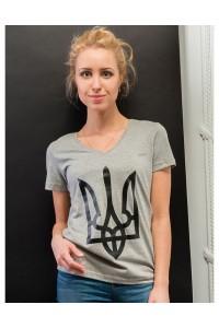 """Женская патриотическая футболка """"Тризуб"""" серый М-952-2"""