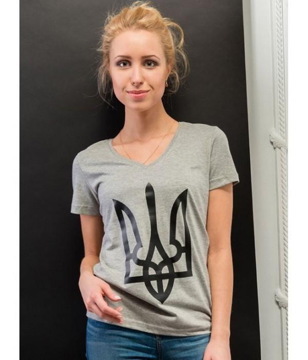 """Жіноча патріотична футболка """"Тризуб"""" сірий М-952-2, Жіноча патріотична футболка """"Тризуб"""" сірий М-952-2 купити"""
