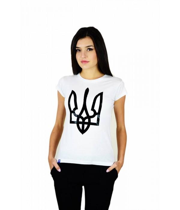 """Жіноча патріотична футболка """"Тризуб"""" біла М-952-1, Жіноча патріотична футболка """"Тризуб"""" біла М-952-1 купити"""