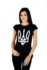 """Женская патриотическая футболка """"Тризуб"""" черный М-952"""