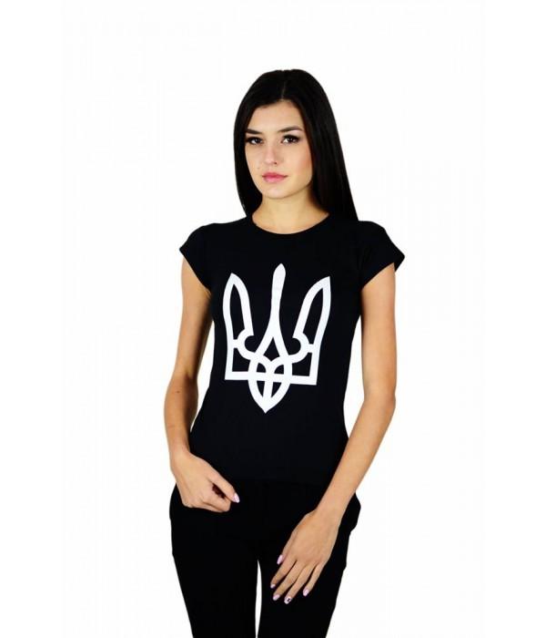 """Жіноча патріотична футболка """"Тризуб"""" чорний М-952, Жіноча патріотична футболка """"Тризуб"""" чорний М-952 купити"""