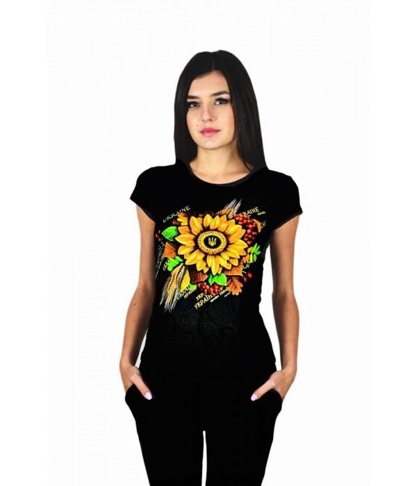 """Жіноча патріотична футболка """"Сонях"""" чорна М-953, Жіноча патріотична футболка """"Сонях"""" чорна М-953 купити"""
