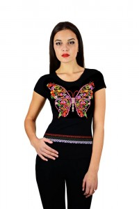 """Женская патриотическая футболка """"Бабочка"""" черная М-954"""