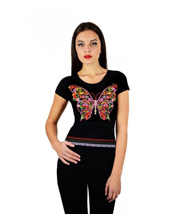 """Жіноча патріотична футболка """"Метелик"""" чорна М-954, Жіноча патріотична футболка """"Метелик"""" чорна М-954 купити"""