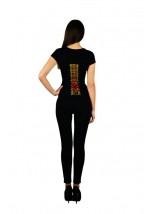 """Жіноча патріотична футболка """"Метелик"""" чорна М-954"""