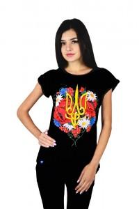 """Женская патриотическая футболка """"Тризуб цветы"""" черная М-955"""