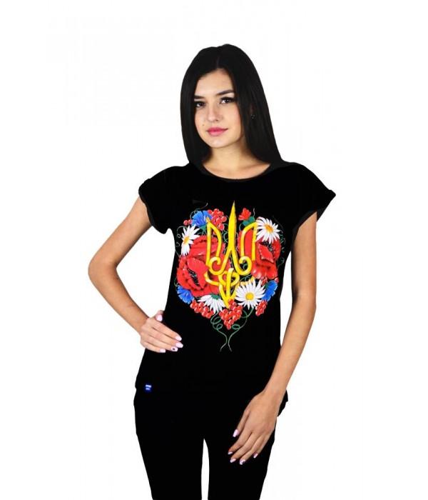 """Жіноча патріотична футболка """"Тризуб квіти"""" чорна М-955, Жіноча патріотична футболка """"Тризуб квіти"""" чорна М-955 купити"""