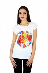 """Женская патриотическая футболка """"Тризуб цветы"""" белая М-955-1"""