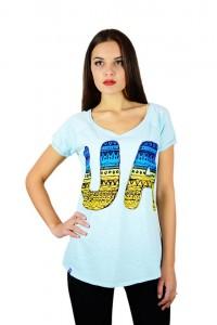 """Женская патриотическая футболка """"UA сине-желтая"""" голубая реглан М-956"""
