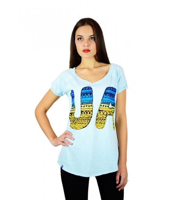"""Жіноча патріотична футболка """"UA синьо-жовта"""" блакитна реглан М-956, Жіноча патріотична футболка """"UA синьо-жовта"""" блакитна реглан М-956 купити"""