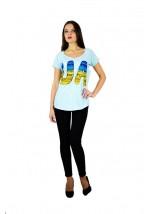 "Жіноча патріотична футболка ""UA синьо-жовта"" блакитна реглан М-956"