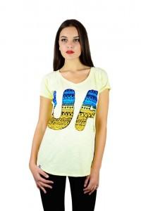 """Женская патриотическая футболка """"UA сине-желтая"""" желтая реглан М-956-1"""