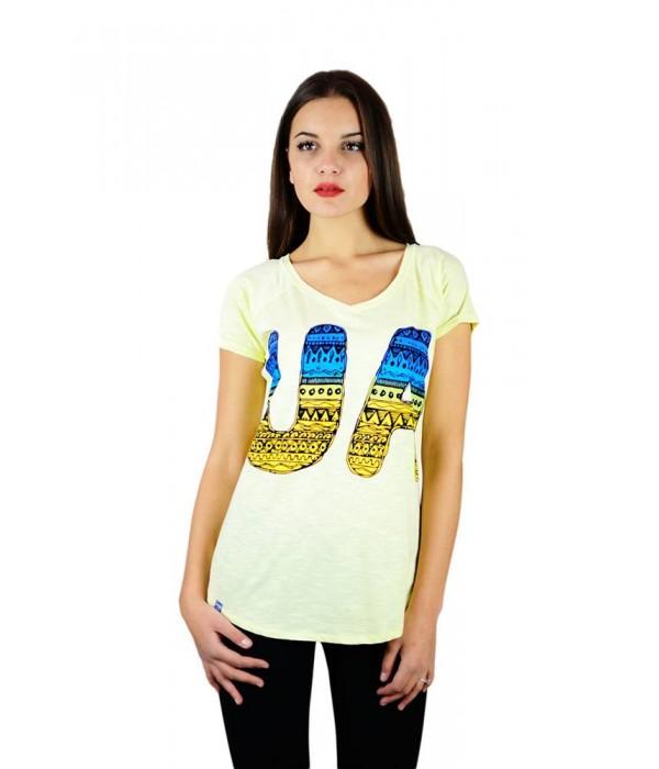 """Жіноча патріотична футболка """"UA синьо-жовта"""" жовта реглан М-956-1, Жіноча патріотична футболка """"UA синьо-жовта"""" жовта реглан М-956-1 купити"""