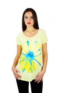"""Жіноча патріотична футболка """"Ромашка"""" жовта реглан М-957-1"""