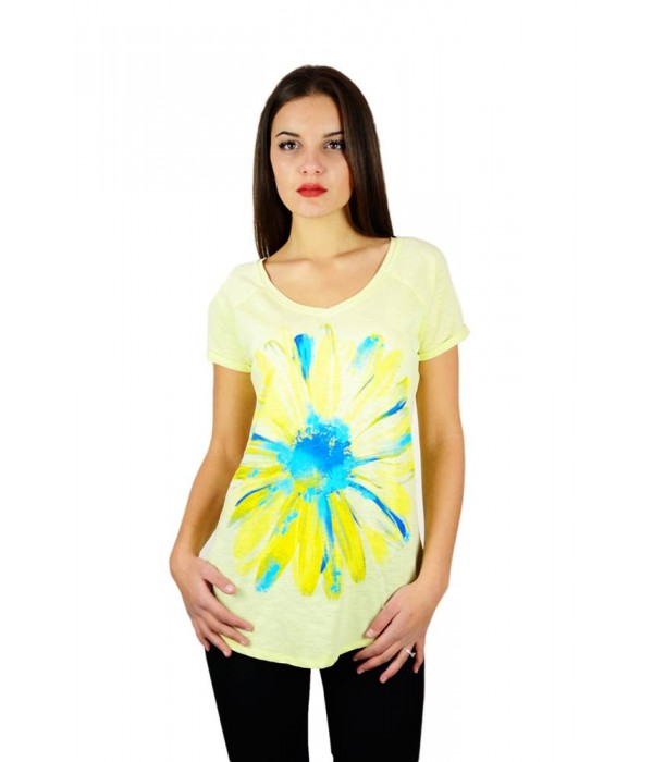 """Жіноча патріотична футболка """"Ромашка"""" жовта реглан М-957-1, Жіноча патріотична футболка """"Ромашка"""" жовта реглан М-957-1 купити"""