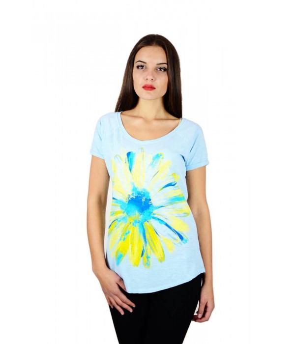 "Жіноча патріотична футболка ""Ромашка"" блакитна реглан М-957, Жіноча патріотична футболка ""Ромашка"" блакитна реглан М-957 купити"