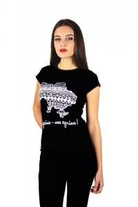 """Женская патриотическая футболка """"Украина моя страна"""" черная М-958"""