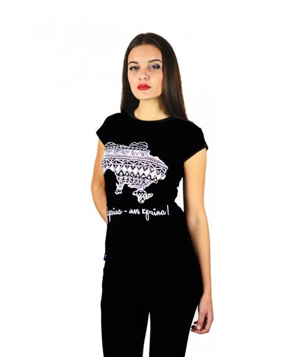 """Женская патриотическая футболка """"Украина моя страна"""" черная М-958, Женская патриотическая футболка """"Украина моя страна"""" черная М-958 купити"""
