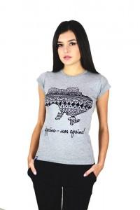 """Жіноча патріотична футболка """"Україна моя країна"""" сіра М-958-2"""