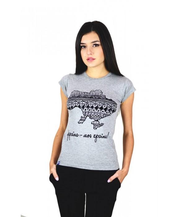 "Жіноча патріотична футболка ""Україна моя країна"" сіра М-958-2, Жіноча патріотична футболка ""Україна моя країна"" сіра М-958-2 купити"