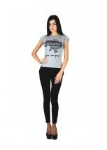 """Женская патриотическая футболка """"Украина моя страна"""" серая М-958-2"""