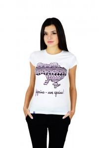 """Женская патриотическая футболка """"Украина моя страна"""" белая М-958-1"""