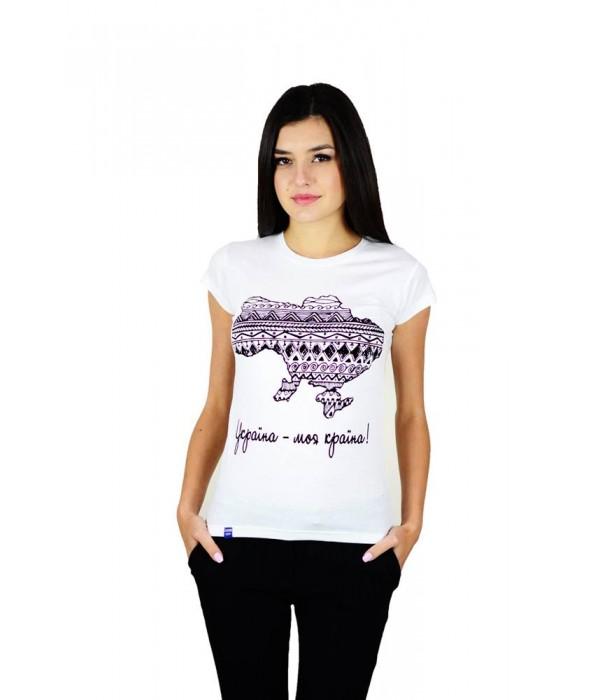 "Жіноча патріотична футболка ""Україна моя країна"" біла М-958-1, Жіноча патріотична футболка ""Україна моя країна"" біла М-958-1 купити"