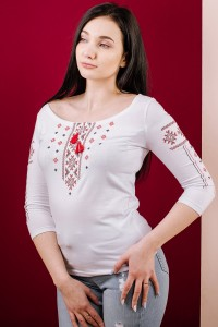 """Футболка вышиванка женская Етномодерн """"Праздничная"""" М-707-4 с длинными рукавами"""