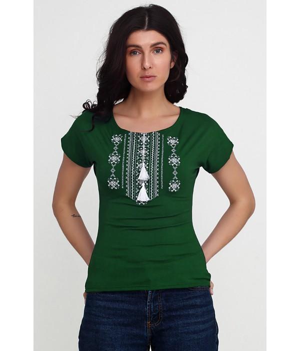 Футболка вышитая женская М-711-green, Футболка вышитая женская М-711-green купити
